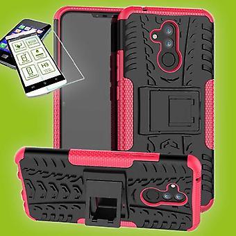Voor Huawei mate 20 Lite hybrid case 2 stuk SWL roze + 0,26 mm 2.5 d H9 gehard glas tas gevaldekking van mouw