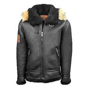 Top Gun Shearling Jacket Black Premium Wool Blend