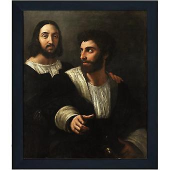 Med ram Portrait of the Artist with a Friend,Raphael,61x51cm