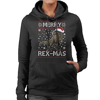 Merry Rex Mas Christmas Dinosaur Women's Hooded Sweatshirt