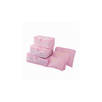 Pink 6pcs efforts into suitcases
