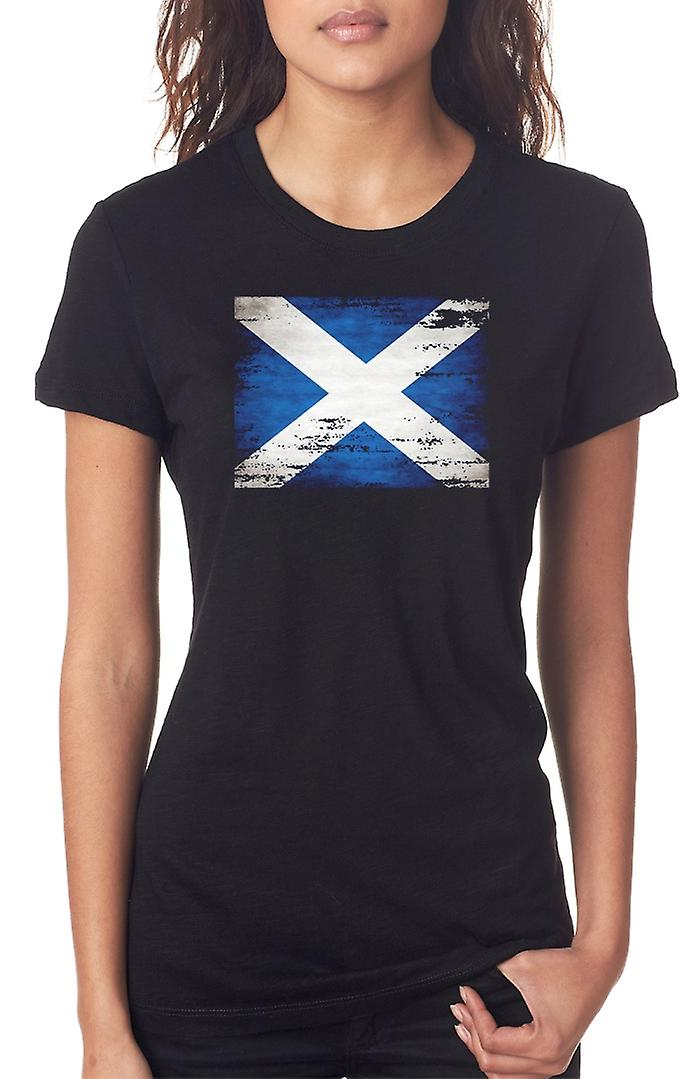 Scotland Scottish Saltire Grunge Flag Ladies T Shirt