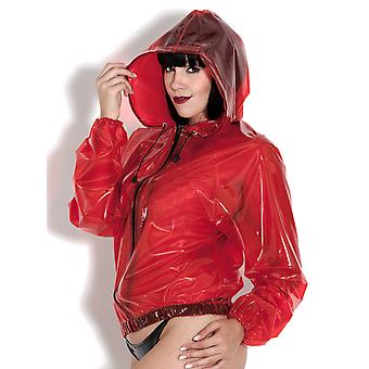 PVC U Like Women's Sexy Bomber Jacket Coat in Plastic with Drawstring Hood