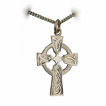 9ct Gold 28x20mm hand engraved knot pattern Celtic Cross with a curb Chain 16 inches only siutable for children