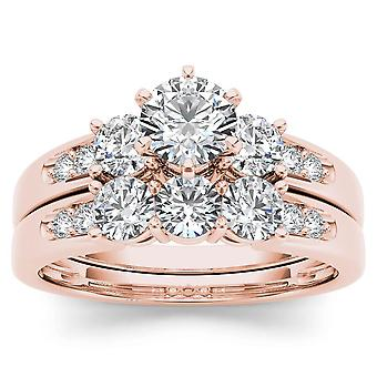 IGI Certified 14k ROSE Gold 1.42 Ct Natural Diamond Halo Engagement Ring Set