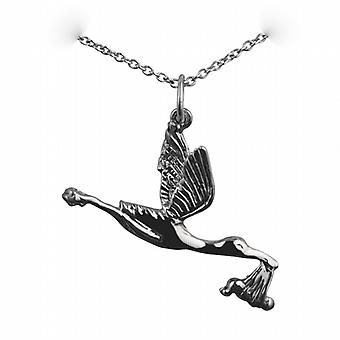 Silver 22x30mm solid Stork with Baby Pendant with a rolo Chain 24 inches
