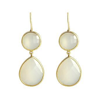 Gemshine oorbellen wit Jade Gemstone drop 925 zilver of kostbare verguld