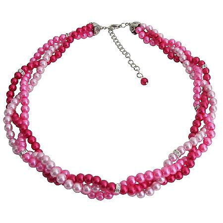 Blush Pink Hot Pink Magenta Combo Wedding Prom Graduation Necklace
