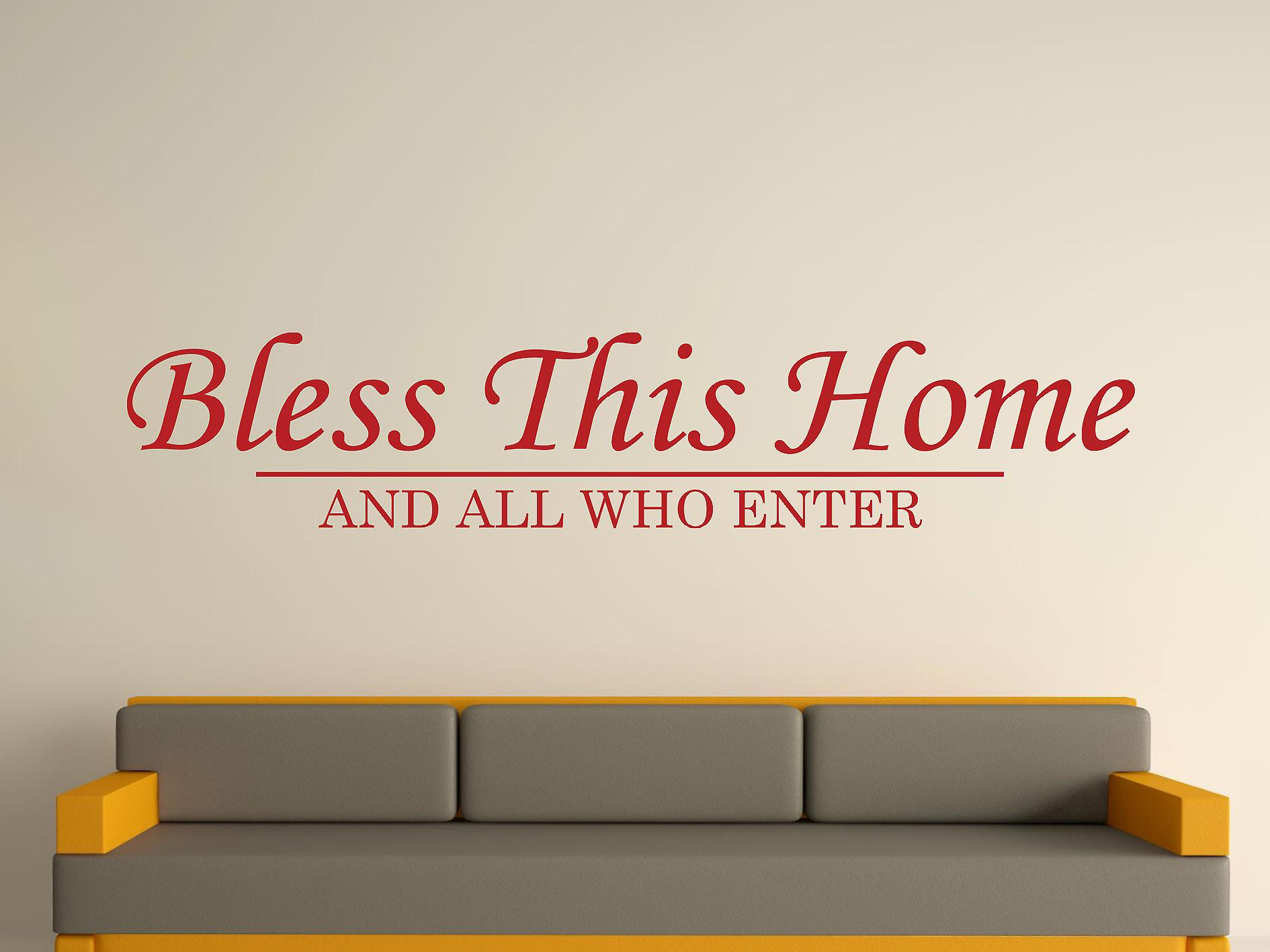Bless This Home Wall Art Sticker - Dark Red