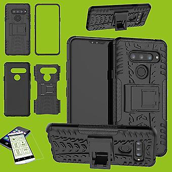 Für LG V40 ThinQ Hybrid Case 2teilig Schwarz + Hartglas Tasche Hülle Cover Hülle