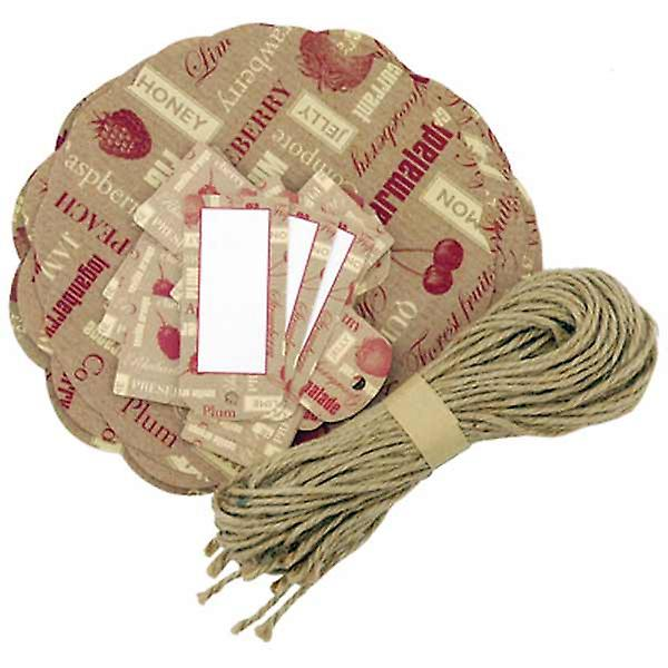 Decorative preserve covers, tags and string - red and cream