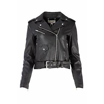 Michael Kors Black Leather Outerwear Jacket