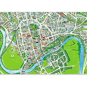 チェスター 400 ピースのジグソー パズルの景観地図 470 mm × 320 mm (hpy)