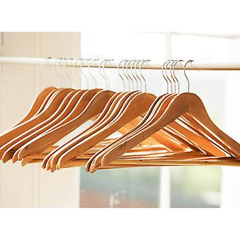 10 Quality Wooden Coat Hangers with Trouser Bar