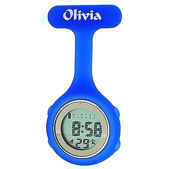 Olivia Collection Blue Digital Multi Function Silicone Nurses Fob Watch TOC74