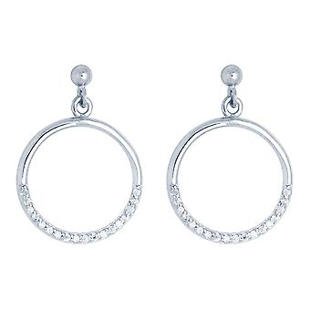 Ah! Jewellery Sterling Silver Crystals from Swarovski Accented Drop Hoop Earrings