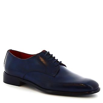 Leonardo Shoes Men's handmade square toe derby shoes in blue calf leather