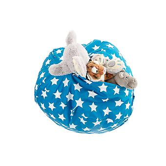 Large Printed Stars Blue Water Resistant Store & Sit Soft Toy Storage Bean Bag