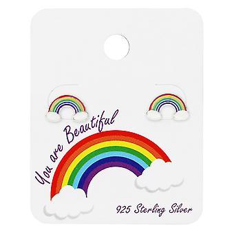 Regenbogen-Ohrstecker auf nette Karte - 925 Sterling Silber Sets - W34100X