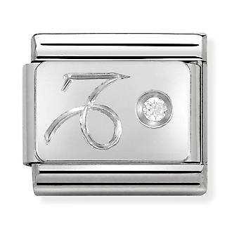 Nomination Classic Capricorn Zodiac Steel, CZ and 925 Silver Link Charm 330302/10