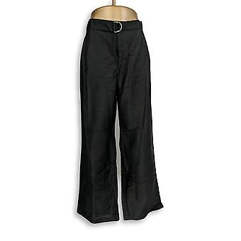 H par Halston Women-apos;s Petit Pants Linen Blend Wide Leg Black A275458
