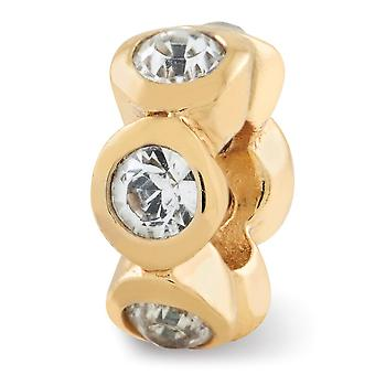 925 Sterling Silver Polished Gold-Flashed Reflections April Crystal Bead Charm