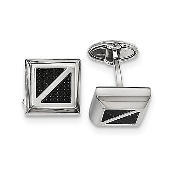 Stainless Steel Polished With Black Carbon Fiber Square Cuff Links