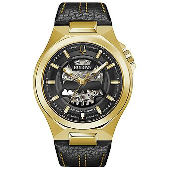 Bulova | Maquina | Mens | Automatic | Black Leather Strap | 97A148 Watch