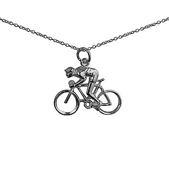 Silver 18x25mm Bicycle and Cyclist Pendant with a rolo Chain 24 inches