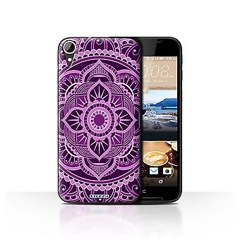 STUFF4 Case/Cover for HTC Desire 830/Floral/Purple/Mandala Art