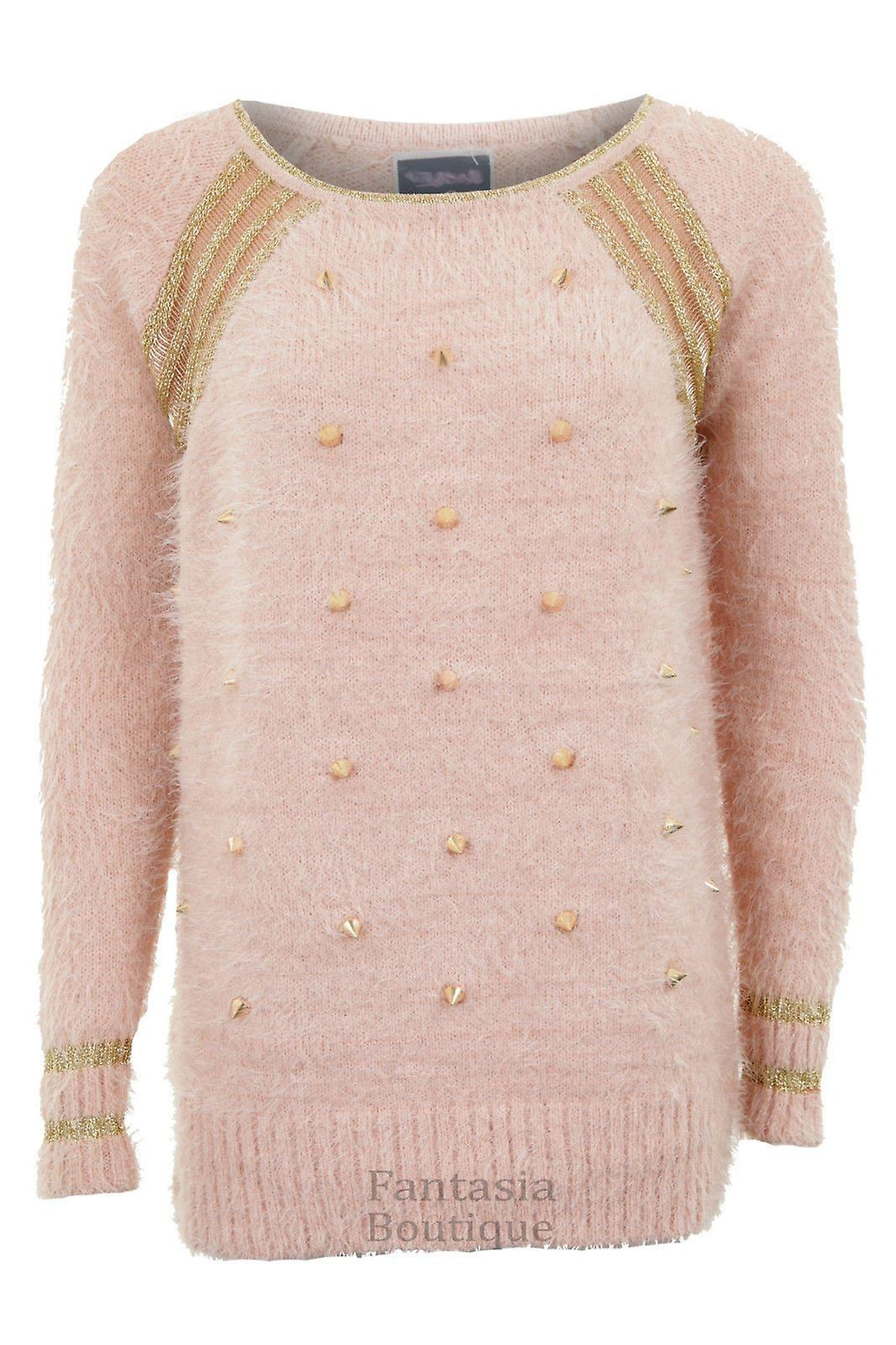 Ladies Long Sleeve Gold Threaded Spiked Like Moher Furry Womens Jumper