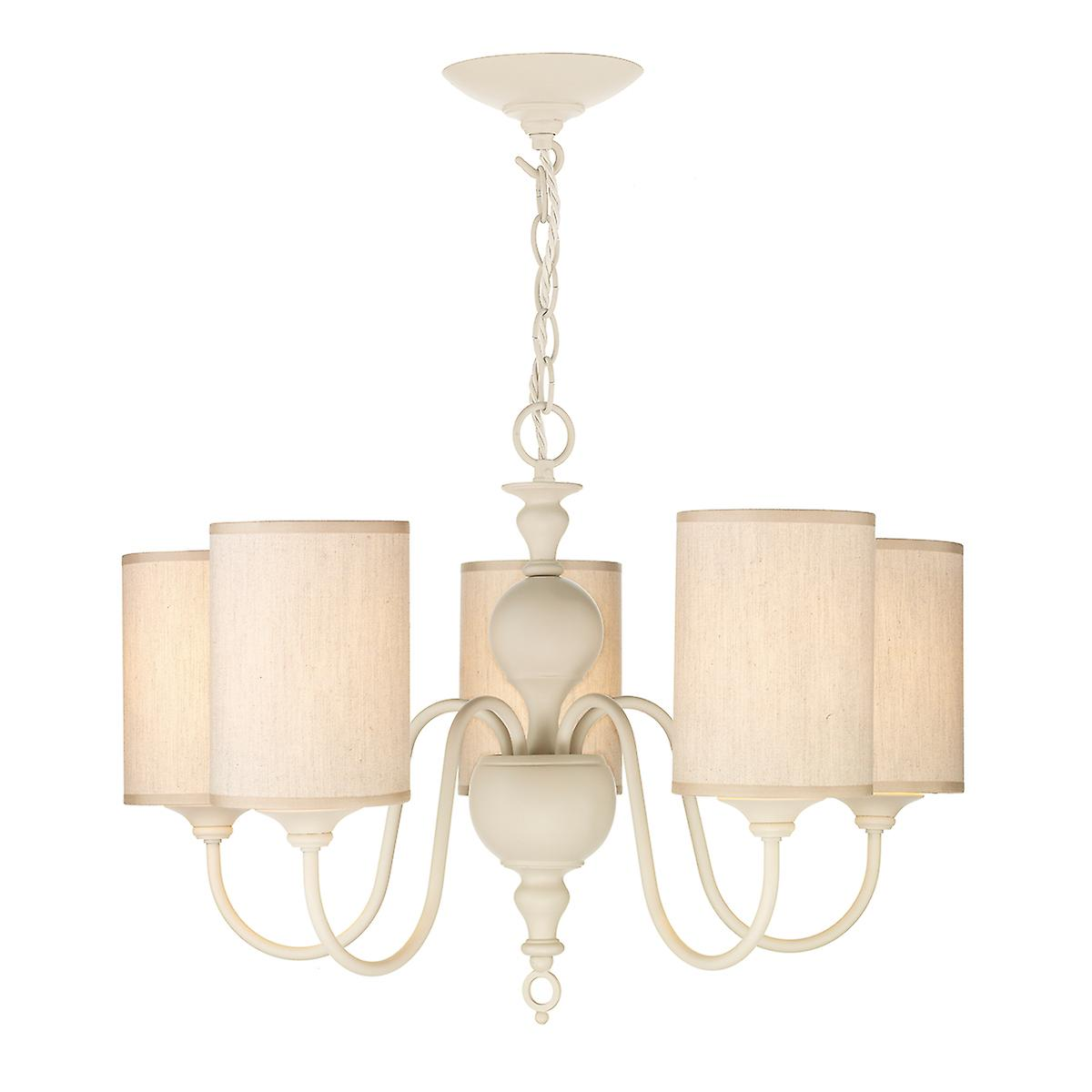 David Hunt FLE0533 Flemish 5 Light Pendant In A Cream Finish With Shade