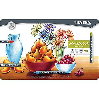 Lyra Aquacolor Water-Soluble Crayons 48/Pkg-Assorted Colors 5611480
