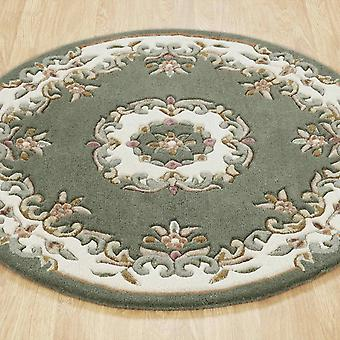 Royal Aubusson Round Rugs In Green Ivory