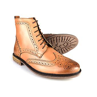 Silver Street Gerrard Tan Leather Formal Mens Brogue Boots
