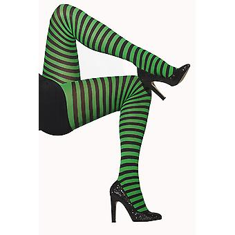 Smiffys Green Black Striped Tights Hosiery Fancy Dress Costume Accessory