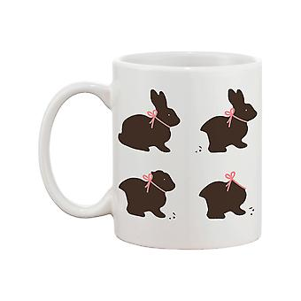 Funny and Cute Chocolate Easter Bunny Ceramic Coffee Mug - Happy Easter