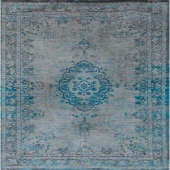 Distressed Turqouise & Grey Medallion Rug - Louis De Poortere