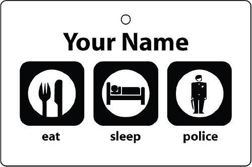 Personalised Eat Sleep Police Car Air Freshener