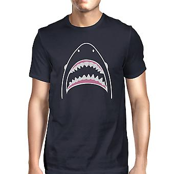 Haai Mens Navy Short Sleeve T-Shirt uniek Design zomer Shirt