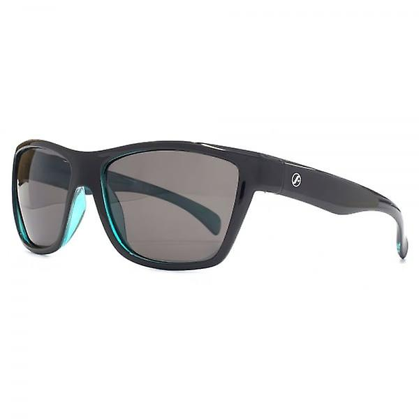 Freedom Polarised Toba D-Frame Sunglasses In Shiny Black On Crystal Teal