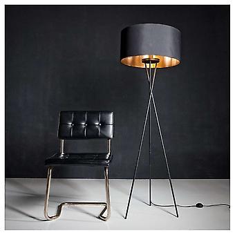 Eglo FONDACHELLI Nickel Tripod Floor Lamp With Black Shade