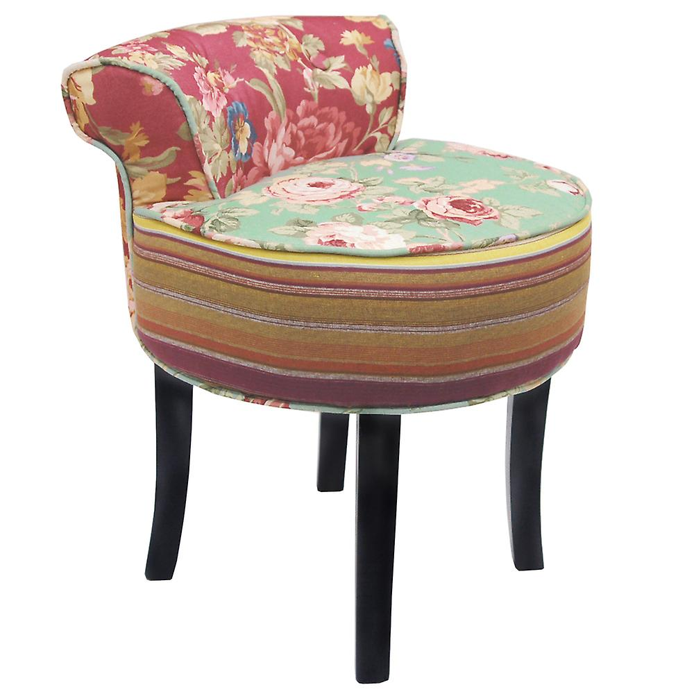 Roses - Shabby Chic Padded Stool / Low Back Chair With Wood Legs - Multi-coloured