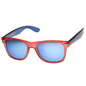 Matteret Multi farve tofarvet farve spejl linse Horn kantede solbriller