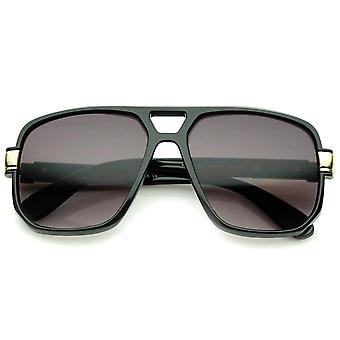 Classic Flat Top Metal Accented Temples Square Aviator Glasses 56mm
