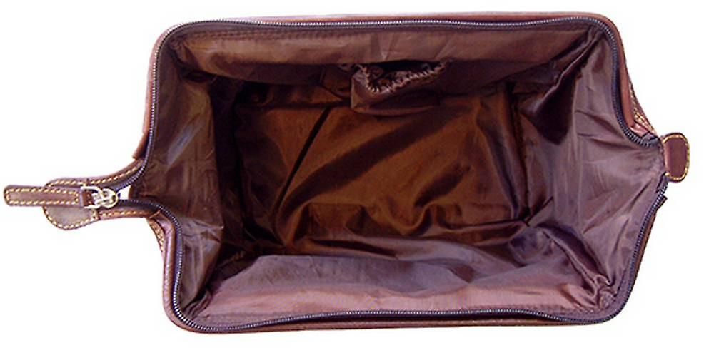 Tyler and Tyler Italian Hide Leather Sparring Hares Wash Bag - Dark Brown