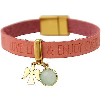 Pink - chalcedony - sea green - magnetic closure - WISHES - pink - gold-plated ladies-bracelet - protection Angel