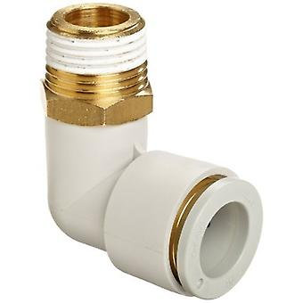 SMC Pneumatic Elbow Threaded-To-Tube Adapter, R 1/2 Male, Push In 12 Mm