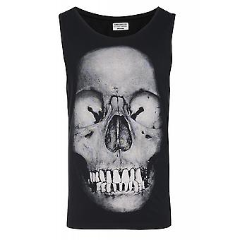 JUNK YARD Christer skull shirt mens tank top black with print