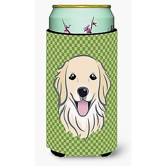Green Checkered Golden Retriever Tall Boy Beverage Insulator Hugger